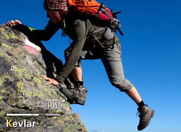 Mountain climber wearing anti-slip kevlar clothing