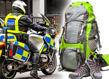 Policeman on motorbike wearing reflective clothing