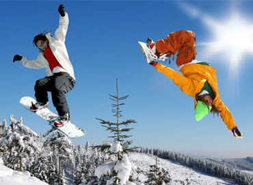 Skiers wearing stretchable clothing