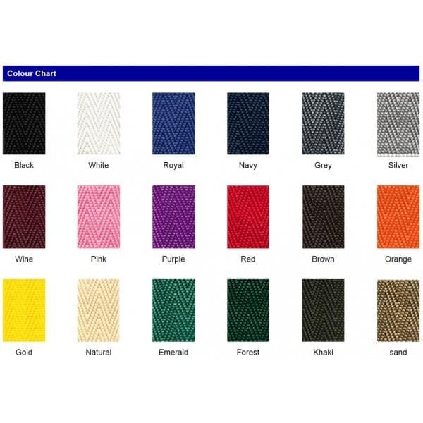 UV stabilised polypropylene webbing colour chart expanded